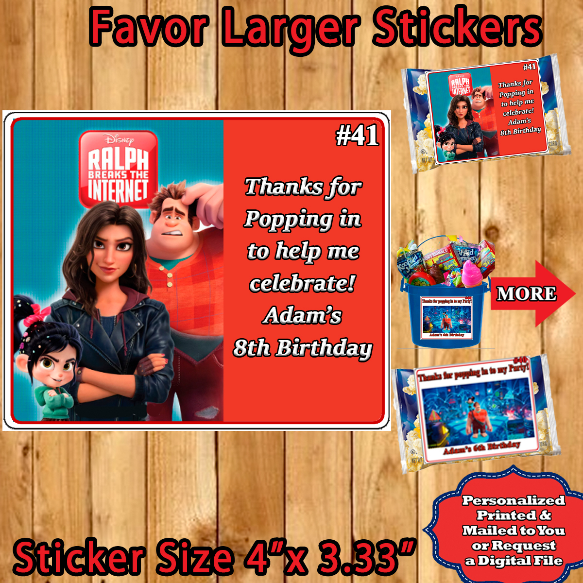 Ralph Breaks The Internet  Birthday Popcorn Stickers Labels 1 Sheet Personalized - $5.75