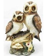 "Romantic 2 Great Horned Owl Couple On Tree Stump Statue 6.25""H Valentine... - $19.99"