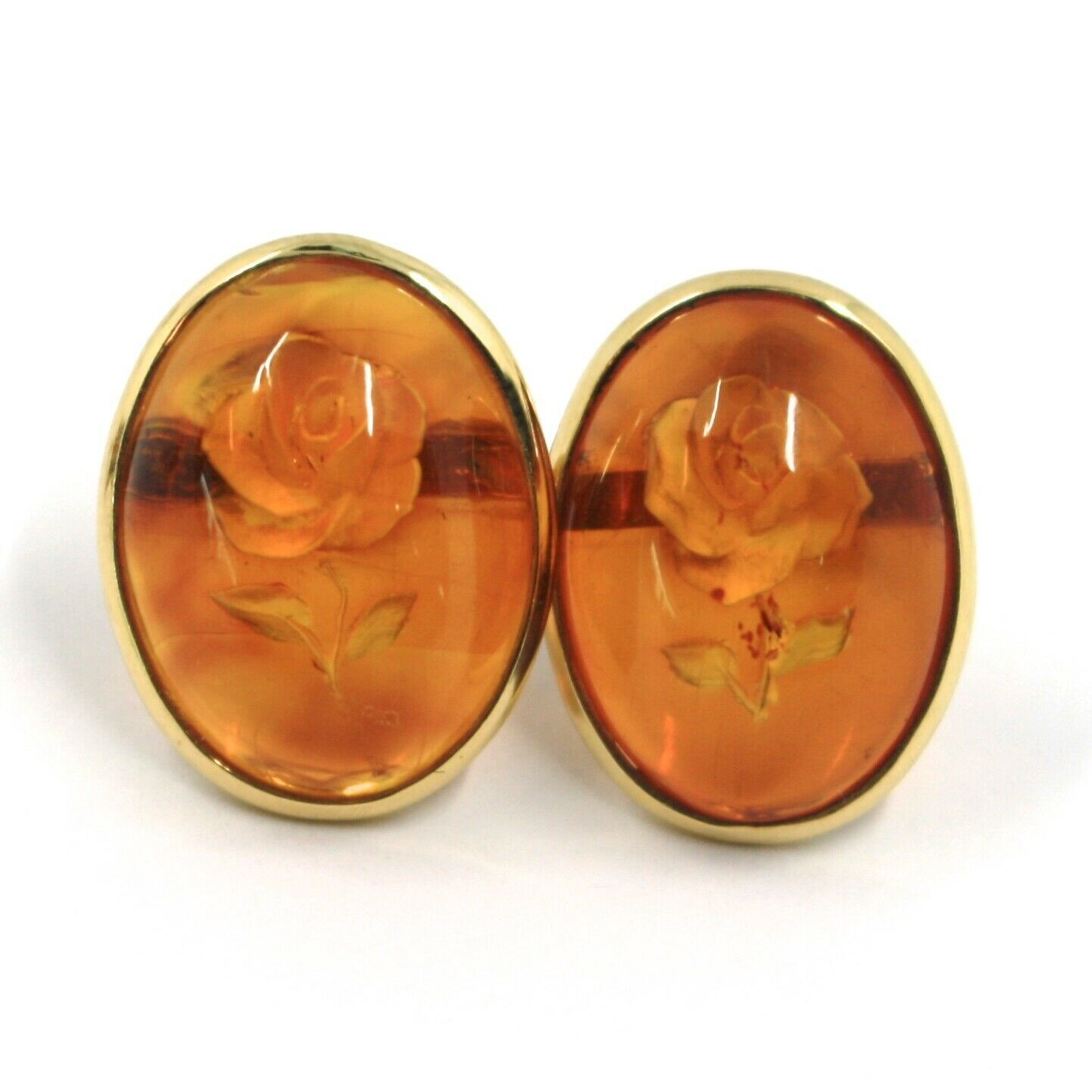 18K YELLOW GOLD EARRINGS, CABOCHON CENTRAL OVAL AMBER ENGRAVED ROSES FLOWERS