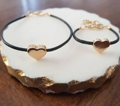 Mommy and Me Matching Heart Bracelet Set- Black/Gold - $24.99