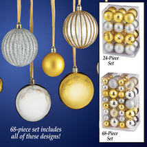 Shatterproof Gold and Silver Christmas Ornaments Set, 24 Pc - $8.86