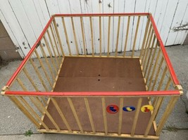 Playpen Vintage Antique Wooden Crib Bed playyard nockonwood  - $247.50