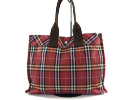Authentic Burberry London Blue Label Nylon Canvas Red Tote Bag BT2376L - $139.00