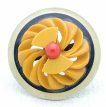VTG Bakelite Tested Mid Century Modern Medallion Red Black Yellow Brooch Pin - $99.00