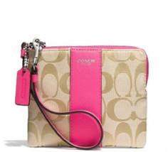Coach Signature Small Wristlet Wallet 49323 Khaki-Pink - $64.35