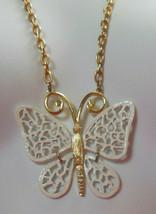Vintage Filigree Enamel Butterfly Pendant Necklace  - $16.82