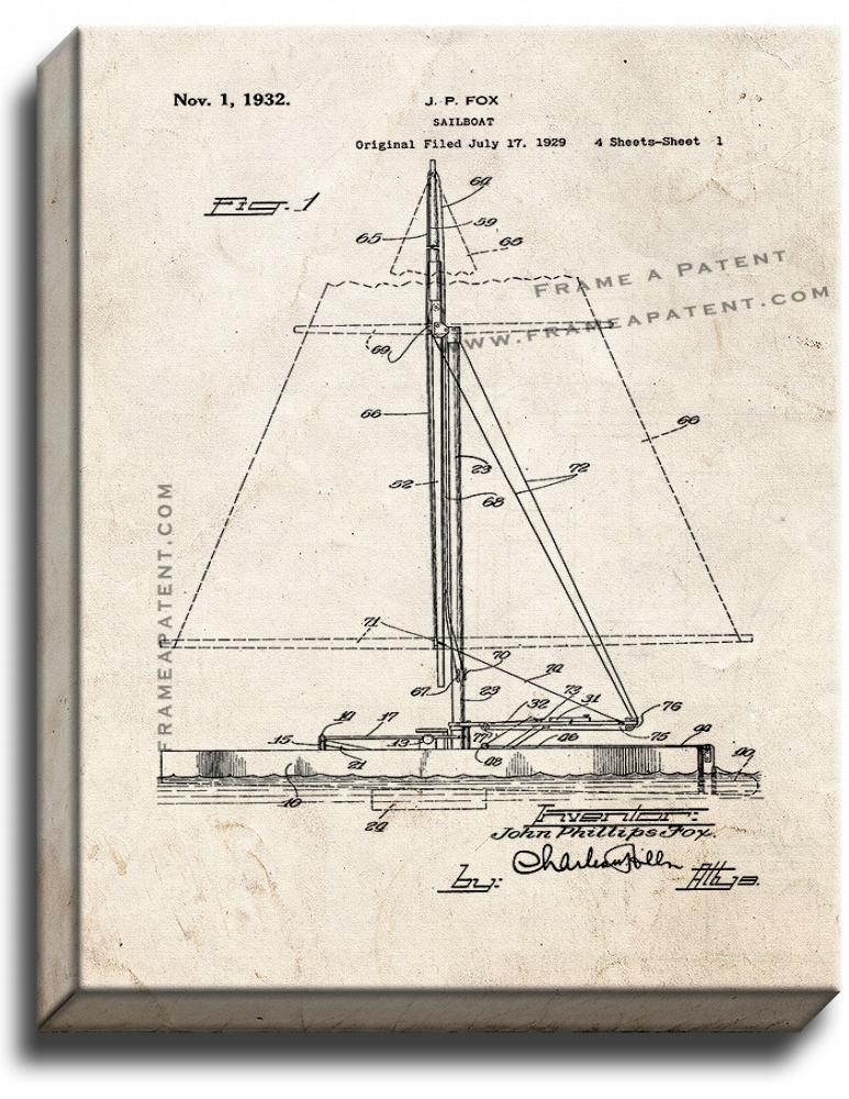 Primary image for Sailboat Patent Print Old Look on Canvas