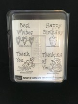 Stampin Up 1998 Simple Wishes Wood Stamp 4 Pc Set Birthday Wishes Thanks Nos! - $6.14