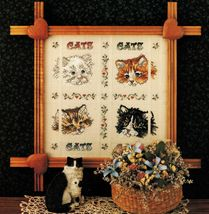 Cross Stitch Gray Tawny White Black Cats Kittens Sampler PATTERN - $6.99