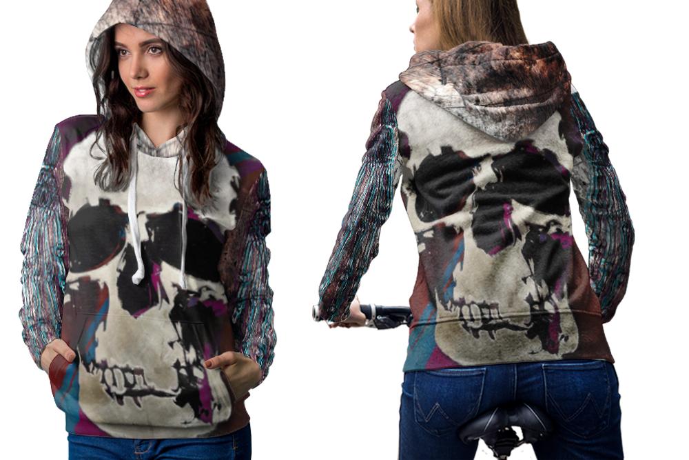 Skull vintage artwork hoodie zipper for women