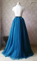 PEACOCK BLUE Extra Long Women's Tulle Puffy Skirt High Waist Tulle Bridal Skirt  image 4
