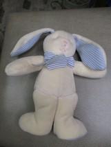 "Russ Berrie Light Blue & Cream Bunny Baby Rattle 10"" Plush Stuffed Animal Stiped - $24.74"