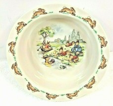 "Royal Doulton Fine Bone China Bunnykins  6"" Porridge Bowl Playing/River C47 - $19.80"