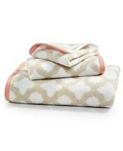 New Martha Stewart Collection Cotton Tile Spa Fashion Bath Towel SandStone - $12.69