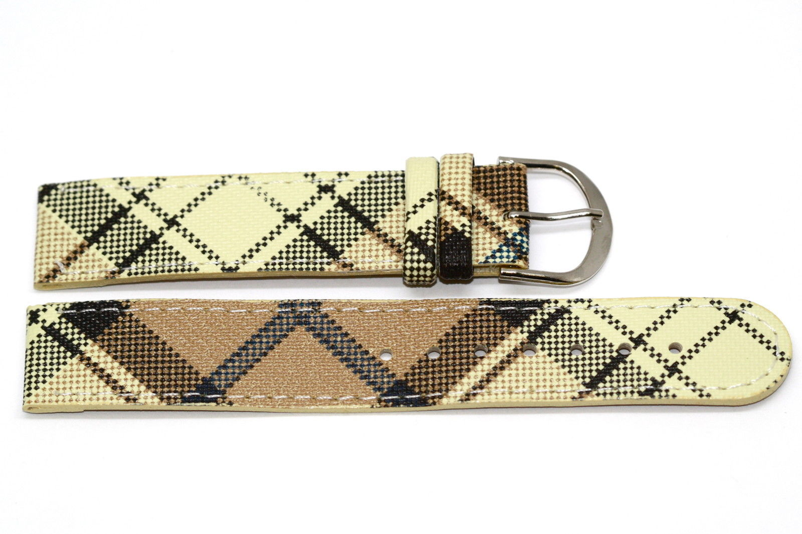 Primary image for 18mm Yellow Beige Plaid Print Stitched Watch Band Strap