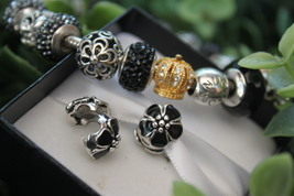 Sterling Silver 925 Flower Clip Charm Bead Fits Pandora Bracelets 1pcs - $8.99