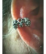Skull Ear Cuff Upper Helix Earring 6 skull Clip On Non-Piercing Goth Pun... - $18.76