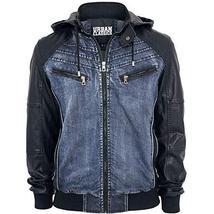 Mens Urban Classic Denim Hoodie Bomber Leather Jacket image 1