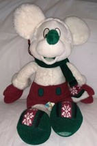 Disney Store Exclusive Mickey Mouse Winter White Holiday Scarf Plush Stu... - $19.79