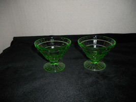 2 Hocking Glass Co. Uranium Green Block Optic Cone-shaped Sherbets - $10.88