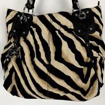 Relic Zebra Stripe Canvas Bag Purse Studs Straps Black Brown Beige - $32.71