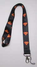 Black SUPERMAN LANYARD KEY CHAIN Ring Keychain ID Holder NEW - $12.99