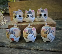 "Ceramic Cat Planters, set of 6, 2.5"" Animal Pots, Emotion Face Kitten Kitty"