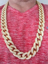 Large 14K Gold GP Fully Iced Out CZ Stone Cuban Link Chain Necklace Heav... - $42.06