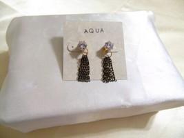 """Aqua Gold Tone 1-1/4"""" Simulated Diamond /Tassel Dangle Drop Earrings E91... - $8.63"""