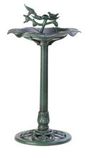 Outdoor plastic verdigris green garden yard patio deck lawn birdbath, bi... - $27.00