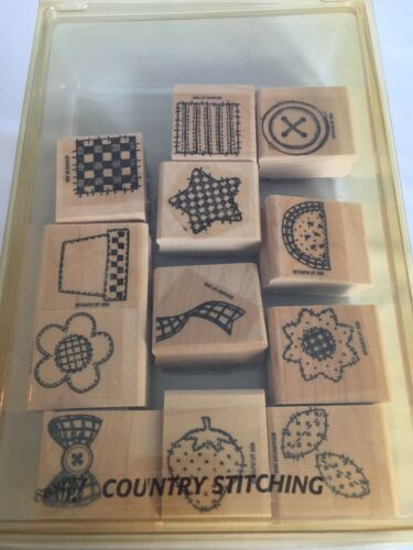 Primary image for Stampin Up Country Stitching Mounted Stamp Set of 12 Button Watermelon Bowtie