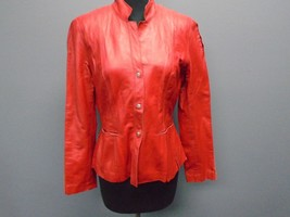 JONES NEW YORK Crimson Red Leather Button Down Casual Fitted Jacket Size... - $69.29