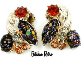 Florenza Earrings Vintage Millefiori Art Glass and Rhinestones Unique  D... - $39.00