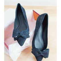 Tory Burch Denim Look Navy Suede Leather Rosalind Pointed Toe Bow Ballet... - $187.61