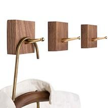 YOYAI Natural Wooden Coat Hooks Wall Mounted Brass Hooks Hat Rack Coat H... - $24.21