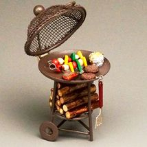 Filled Barbecue Grill 1.817/8 Reutter Kettle Round BBQ Food DOLLHOUSE Miniature - $32.85