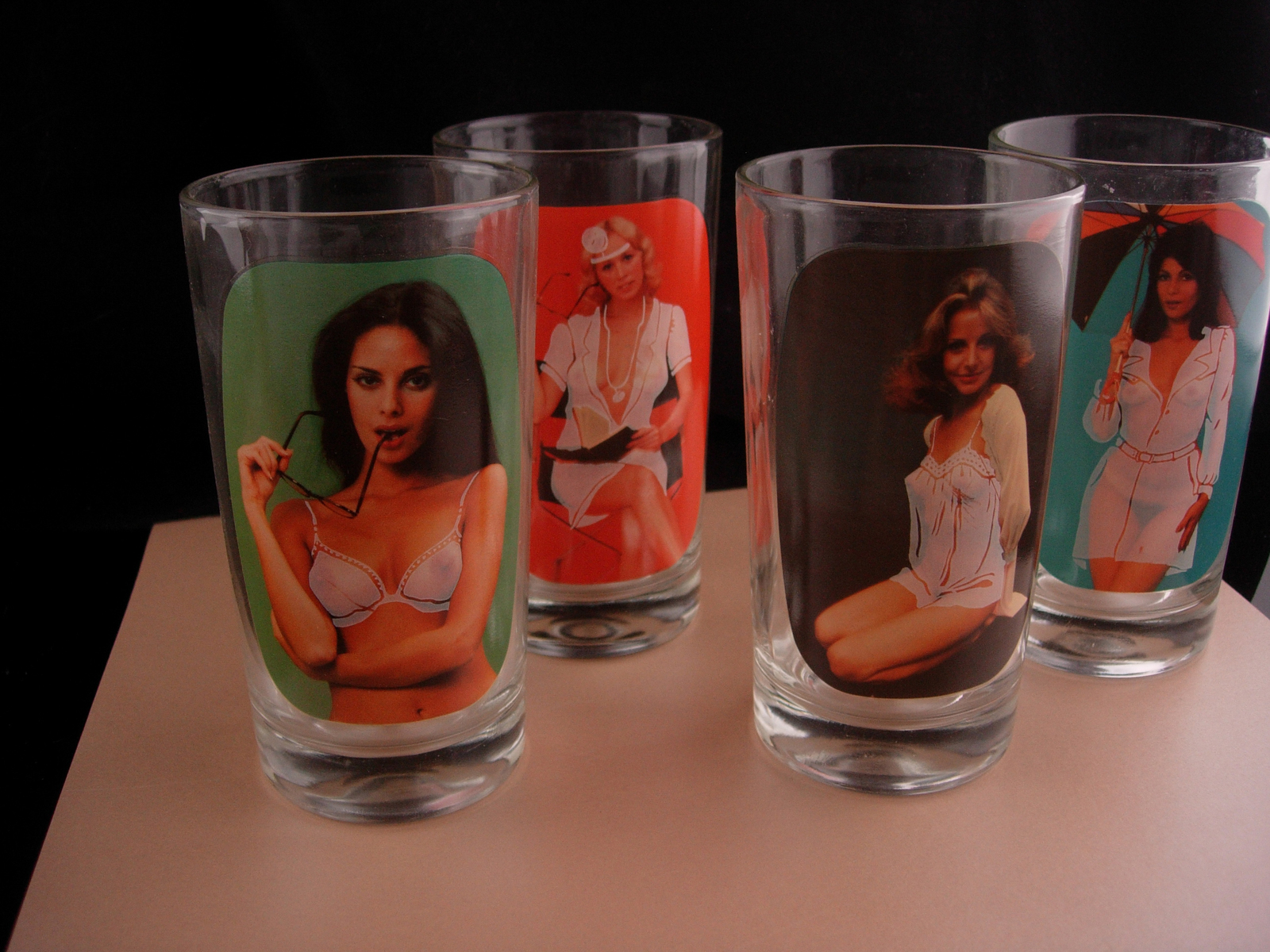 Nude Pinup girl glasses - erotic nude novelty gift - Vintage bartender naughty s