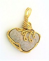 Coral Brass Wire Wrap Pendant 62 - $27.91