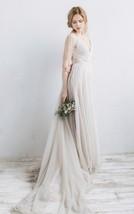 V Neck Long Sleeve Crystal Chapel Train A Line Long White Tulle Wedding Dress - $135.00