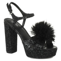 MICHAEL Michael Kors Fara Glitter Pom Pom Detail Platform Sandal, Mu Sizes Black - $107.95