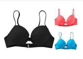 APT 9 Swim Push Up Underwire Swimwear Bandeau Top Bikini Solid Black Blu... - $9.99