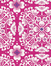 "Fabric Hot Pink and White and Purple Floral Michael Miller 42"" L x 44""W  - $13.99"