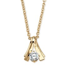 "1.07 TCW Cubic Zirconia 14k Gold-Plated Solitaire Necklace 18"" - $9.89"