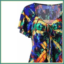 Gypsy Boho Multi Colored Stained Glass Print Short Sleeve Chiffon Scarf Blouse image 2