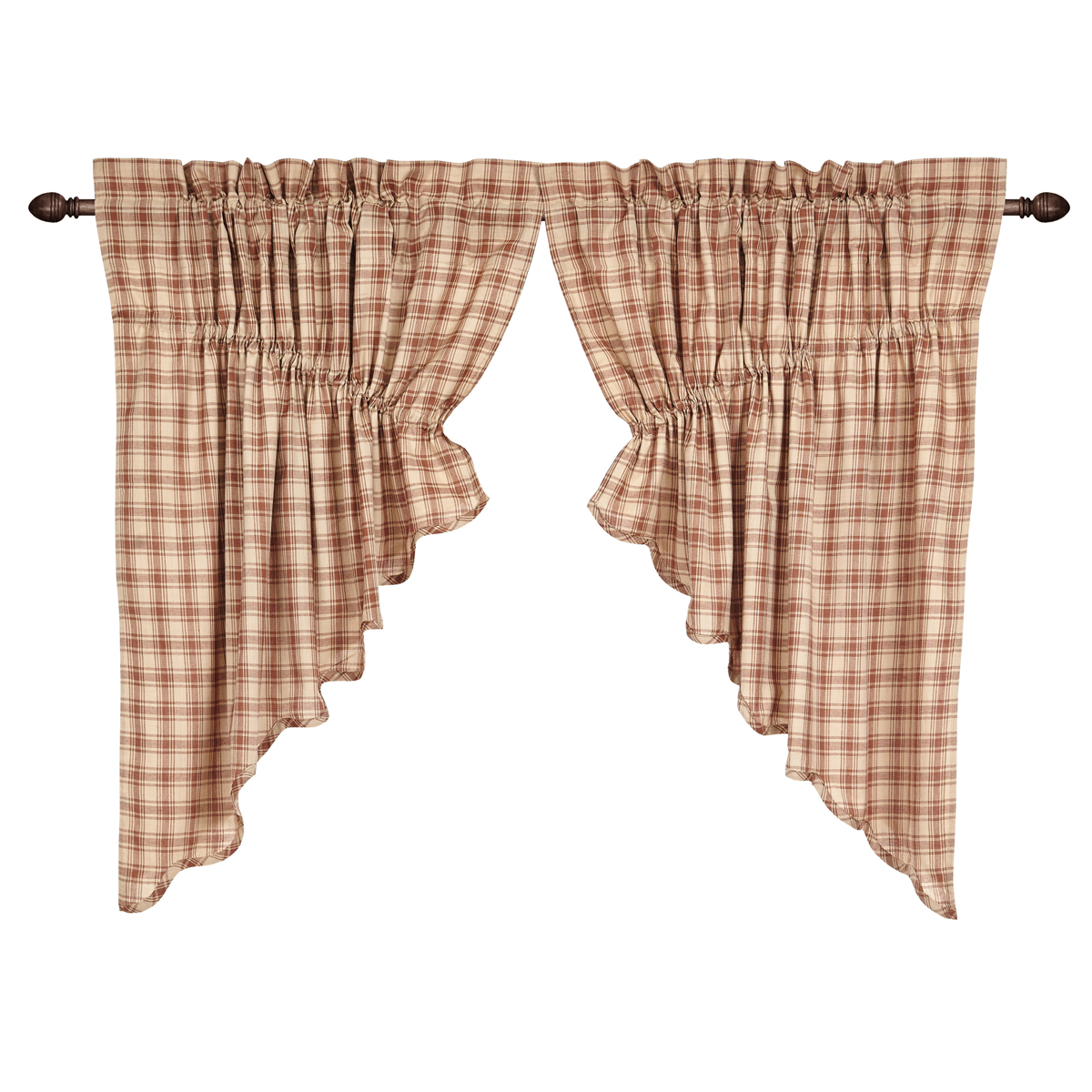 BRADLEY Scalloped Prairie Swag -Set of 2- 36x36x18 - Khaki/Brown - VHC Brands