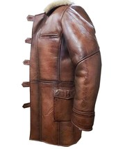 Bane Dark Knight Rises Tom Hardy Fur Shearling Brown Genuine Leather Trench Coat image 3