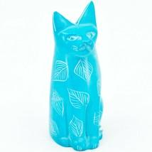 Vaneal Group Hand Carved Kisii Soapstone Sky Blue Sitting Kitty Cat Figure Kenya