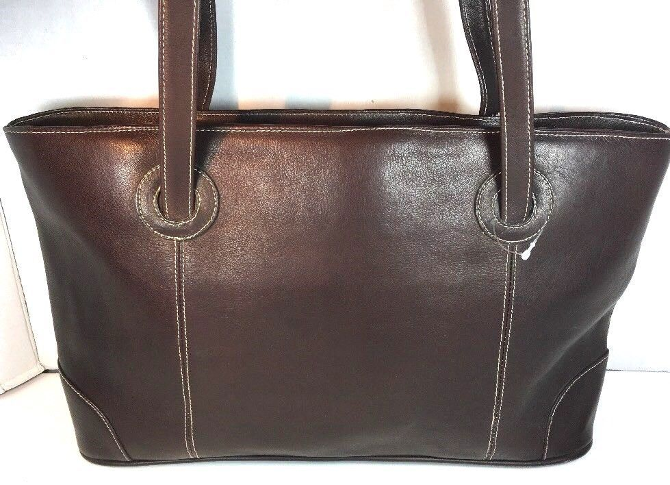 Piel Dark Brown Leather Tote Bag Hand Made In Colombia