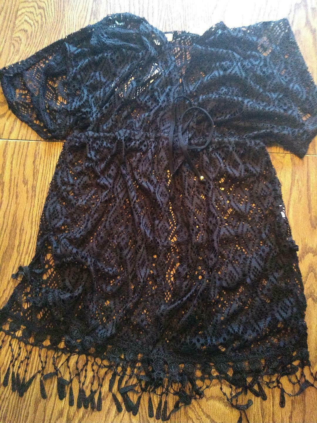 Miken Swim Black Caviar Beach Cover Up Size Small