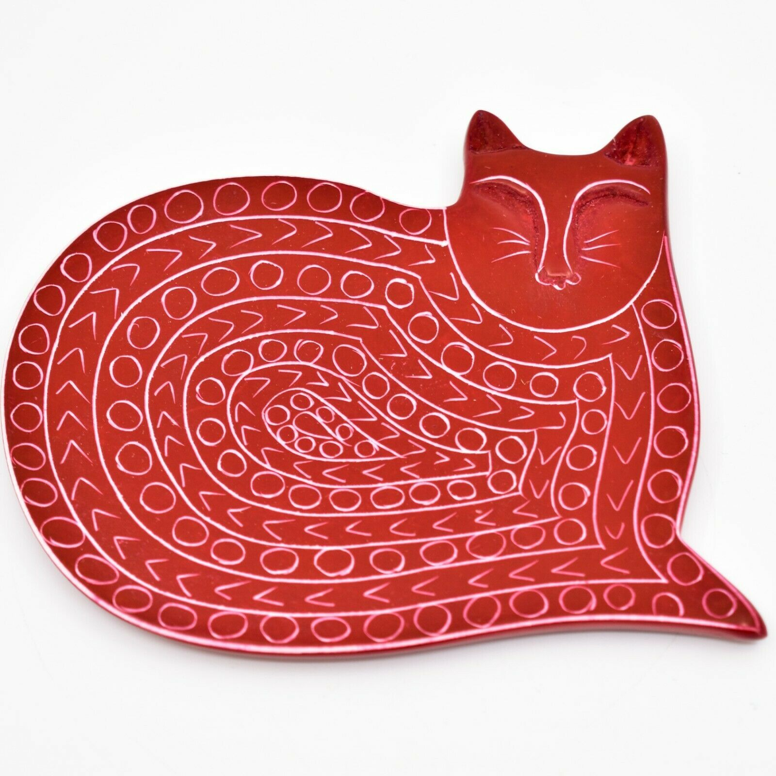 Vaneal Group Hand Carved Kisii Soapstone Red Sleeping Cat Trinket Dish Plate